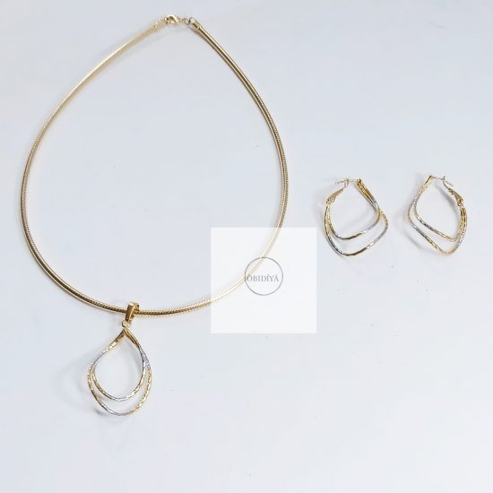 2 tone steel earrings and pendant set