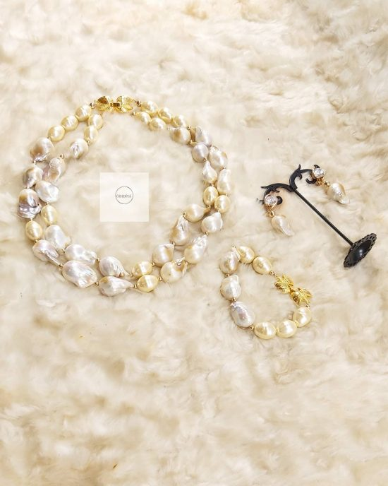 2 strands baroque Pearls with gold jewelry set
