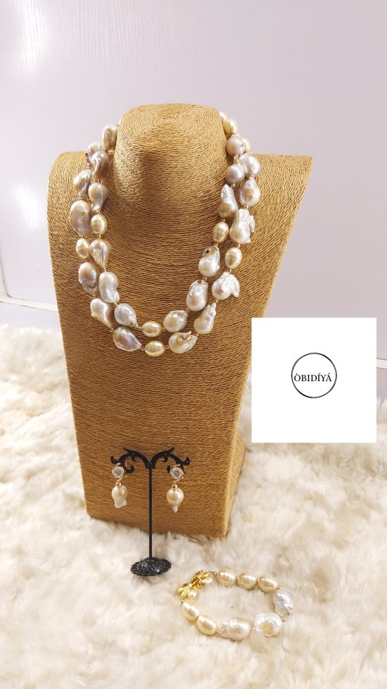 2 strand baroque with drum pearl jewelry set