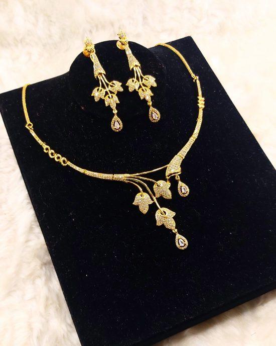 2 piece gold American diamonds jewellery set
