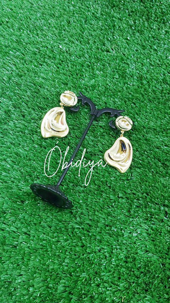 Brazilian inspired gold earrings